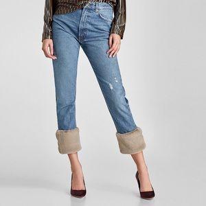 Zara Faux Fur Cuff Jeans